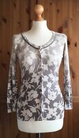 Betty Jackson Black Cardigan Grey Taupe White Ombre Floral Fitted Elegant 8 10