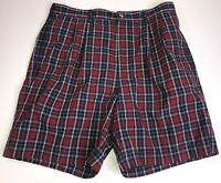 Tommy Hilfiger Golf Mens Size 36 Red & Blue Plaid Casual Shorts Excellent