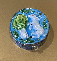 Vintage STERLING SILVER Enamel Bunny Rabbit Hare Pill Snuff Box Gilt Gold 925
