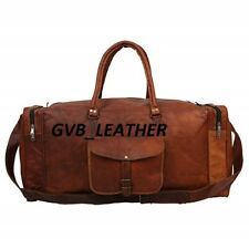 Leather Travel Gym Luggage Genuine Overnight Men's Vintage Duffel Carry All Bag