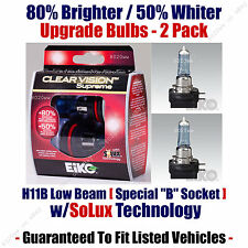2-Pack Upgrade Headlight Bulbs Low Beam 80% Brighter 50% Whiter EiKo H11B CVSU2