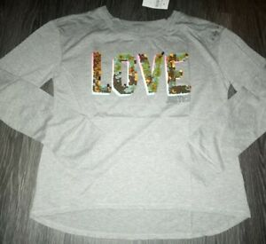 Girls justice flip sequin long sleeve tee size 12 new grey bling graphics