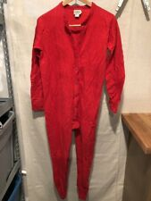 L.L. Bean Women's Small One Piece Full Body PJs Pajama Long Johns Red