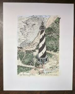 Cape Hatteras Lighthouse NC Mary Alice Weiss Pen & Ink Watercolor Signed Print