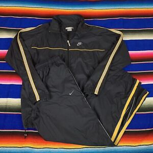 VTG Nike Mens L Black & Yellow Wind Suit Pants And Jacket