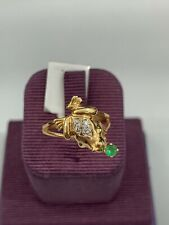 14K Frog Ring with Green Stone