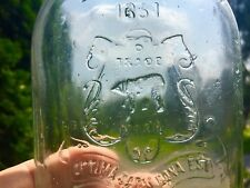 Rare Flask Embossed Bear W.H.Jones & Co. Boston Mint Green Tint 1851
