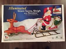 "New 72"" Christmas Lighted Blow Mold Santa In Sleigh & Reindeer Yard Decoration"