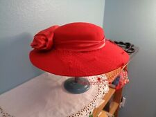 Womens Vintage Red Wide Brim Hat With Netting Large Bow Michael Howard Usa