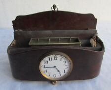 OLD VERY RARE DESKTOP WOODEN IMPLEMENT ASHTRAY ? WITH 8 DAYS WATCH WORKING