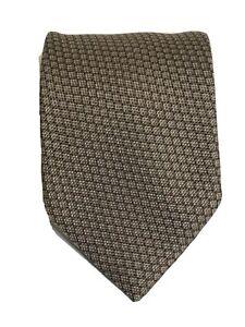 Long GIORGIO ARMANI Collezioni Silk Necktie ITALY Luxury Geometric 61L 3.5W Gold