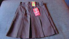 "M&S Stormwear Adj.Waist Traditional Pleat School Skirt 3-4y W21"" 104cm BrownBNWT"