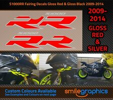 BMW S1000RR Fairing Decals. 2009-14 - Gloss Red & Silver Stickers