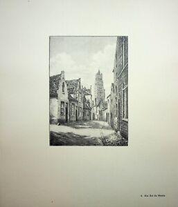 🌓 GEORGES SALLE Bruges Rue Est du Marais belle gravure sur vélin d'Arches #4