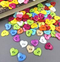100 harz knopf / Knöpfe Dekorative Nähen Mischfarbe Herz knopf 14mm/1.4cm