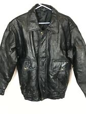 Black Leather Jacket Coat Men SMALL Rough Patch Style Stitched