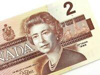 1986 Canada 2 Dollars BGW Uncirculated Canadian Thiessen Crow Banknote M940