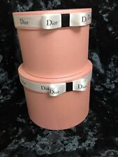 Brand New Chanel Set of 2 Dusty Pink Stacking Hat Boxes Dior Ribbon Home Decor
