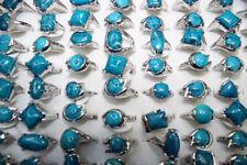 0a9fb42d9aa lot 8 bagues métal argenté pierre naturel turquoise