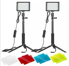 2 Pack Neewer Dimmable 5600K USB LED Video Light with Adjustable Tripod Stand