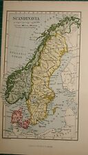 1878 ANTIQUE MAP ~ SCANDINAVIA ~ DENMARK NORWAY SWEDEN