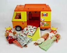 Vintage 1971 Mattel Barbie Country Camper Rv w/ 3 Dolls Chairs Sleeping Bag
