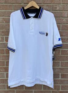 Vintage Team Starter Kentucky Wildcats NCAA Logo Polo Shirt White Men Size Large