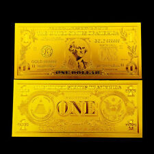 BILLETE 1$ US DOLLAR REPLICA ORO GOLD 24K