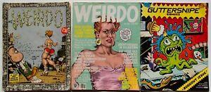 Underground Comic Book lot of 3 Wierdo #7 & #18 & Guttersnipe Comix #1 R Crumb