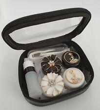 8 Piece Coloured Contact Lens Lenses Travel Kit Mirror Case Tweezers Mono Queen