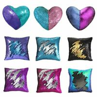 "16"" Mermaid Throw Pillow Magic Reversible Sequin Cover Glitter Sofa Cushion Case"