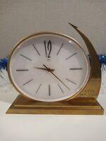 """Vintage table clock Molniya """"Vostok 1"""" Yuri Gagarin 04/12/1961, yellow metal."""