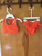 Girls Nikki K 2 Piece Swimsuit Orange & White Size 3 EUC Very Cute 4 Summer