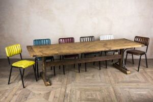 LARGE 300CM RECLAIMED PINE RUSTIC TRESTLE DINING TABLE THE IRONBRIDGE