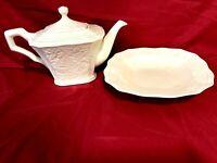 222 Fifth Avignon Cream Lot Of Tea Pot & Serving Platter/Bowl Set