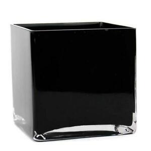 """glass vase square cube black, 6"""" / 15 cm flower centrepieces wedding decor"""