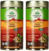 2 Pack x 100 gm Organic India Ginger Tea Tulsi Herbal Infusion - F/Shipping