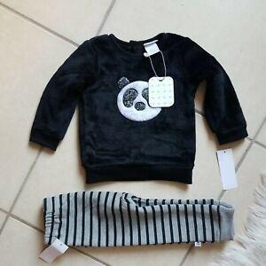 Absorba Paris Infant Baby Boys Black Velour  Sweatshirt And Pants Set Size 3/6M