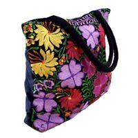 NEW EMBROIDERED FLOWERS MULTICOLOR BLACK CORDUROY SHOPPER HANDBAG TOTE PURSE BAG