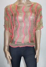 LUXX Designer Coral Gold Short Sleeve Knitted Top Size M/L BNWT #SK27