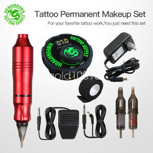 Dragonhawk Makeup Eyebrow Lip Tattoo Machine Power Supply Needles Pen