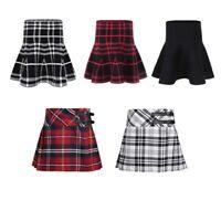 Girls Children Tartan Check Pleated Mini Skirt Skater Plaid Dress Age 2-12Y