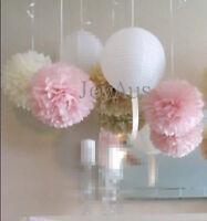 24x paper pom poms paper lanterns wedding 1st birthday baby shower hanging decor