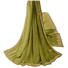 Sanskriti Vintage Green Heavy Dupatta Pure Crepe Silk Hand Embroidery Zari Stole