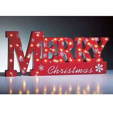 NEW 37 LED WOODEN WINDOW LIGHT MERRY CHRISTMAS XMAS SIGN TABLE TOP LAMP LIGHTS