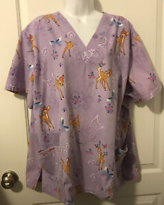 Womens The Wonderful World of DISNEY BAMBI Scrub Top - Size 2X - Light Purple