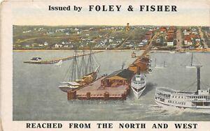 H53/ St Petersburg Florida Postcard 2-Panel Double Foley & Fisher Steamship