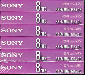 Sony 6 Pack VHS T-160 EP Premium Grade Blank Sealed Packages