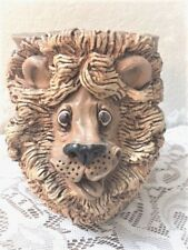 Vintage Dave Grossman Lion Clay Planter  Sculpture - Signed, Free Shipping