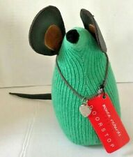 Monica Richards Doorstop Doorbanger CHIP THE MOUSE LONDON Green Corduroy Leather